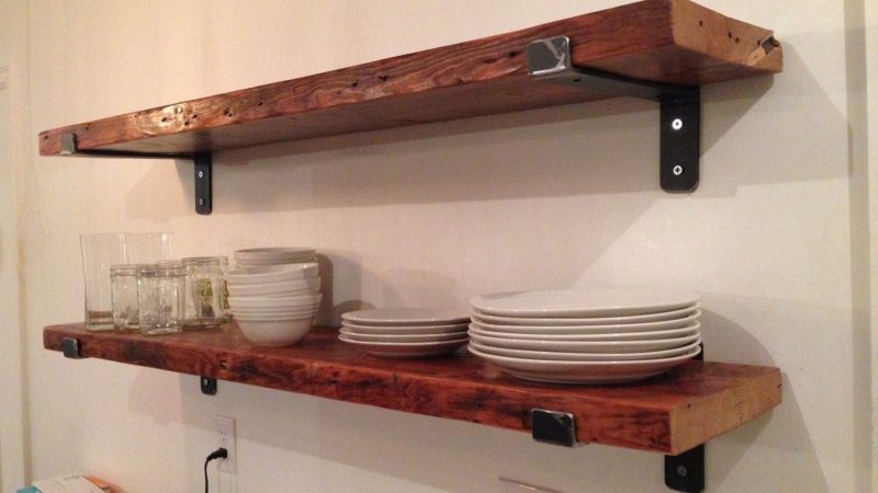 Detailed Study On The Wood Shelves With Metal Brackets